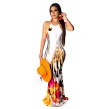 Load image into Gallery viewer, DRESS Mermaid Maxi Elegant Print Backless Bodycon Dress - EK CHIC