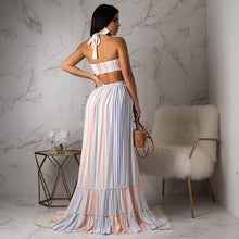 Load image into Gallery viewer, DRESS Stripped Halter Backless High Waist Maxi Dress - EK CHIC