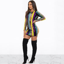Load image into Gallery viewer, DRESS Sequins Striped Backless Bodycon Dress - EK CHIC