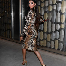 Load image into Gallery viewer, DRESS O-Neck Long Sleeve Slim Midi Dress Lady Tiger Print - EK CHIC
