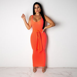 DRESS Spaghetti Strap Bodycon Maxi Slim Dress - EK CHIC