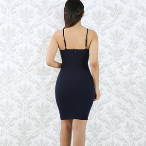 DRESS Spaghetti Strap V-Neck Mini Bodycon Dress - EK CHIC