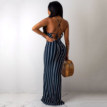 Load image into Gallery viewer, DRESS V-Neck Striped Hollow Out Cross Bandage Slim Maxi Dress - EK CHIC