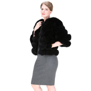 FUR COAT Short Genuine Fox Fur Coat - EK CHIC