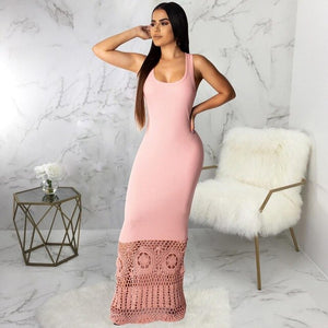 DRESS Square Collar Knitted Hollow Out Bodycon Dress S - EK CHIC