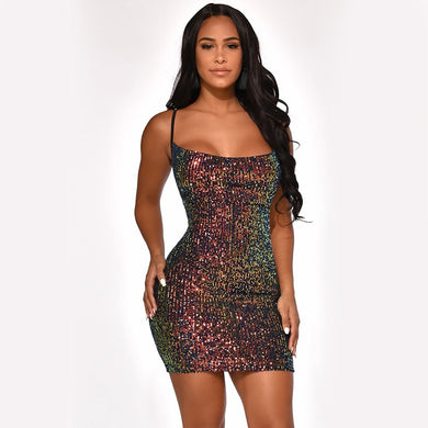 DRESS Sexy Sequined Sleeveless Bodycon Fashion Slim Mini Dress - EK CHIC