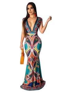 DRESS Deep V-NeckMermaid Floor Length Dress - EK CHIC