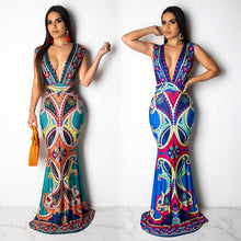 Load image into Gallery viewer, DRESS Deep V-NeckMermaid Floor Length Dress - EK CHIC