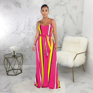 DRESS Striped Spaghetti Strap Maxi Dress - EK CHIC