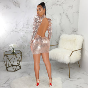 DRESS Turtleneck Hollow Out Backless Sequined Lantern Long Sleeve Dress - EK CHIC