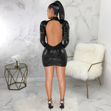 Load image into Gallery viewer, DRESS Turtleneck Hollow Out Backless Sequined Lantern Long Sleeve Dress - EK CHIC