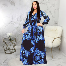 Load image into Gallery viewer, DRESS Women V-Neck Long Sleeve High Waist Chiffon Dress - EK CHIC