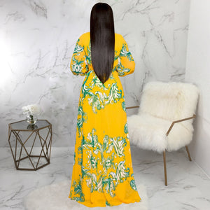 DRESS Women V-Neck Long Sleeve High Waist Chiffon Dress - EK CHIC
