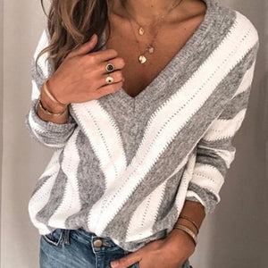 SWEATER Women V-Neck Striped Contrast Color Sweater - EK CHIC