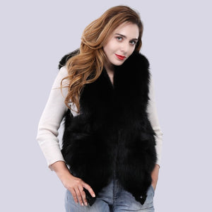 FUR VEST Fox Fur Full Pelt Luxury Vest - EK CHIC