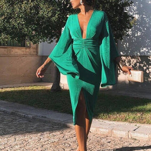 Bodycon Green Deep V-neck Ladies Midi Dress - EK CHIC