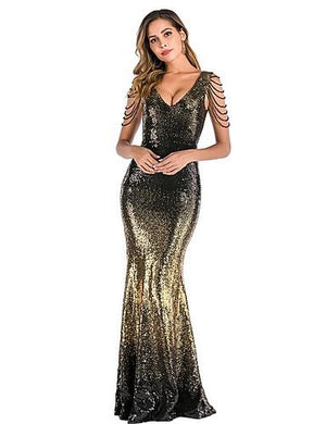 DRESS Women's Party Elegant Maxi Sequins Dress - EK CHIC