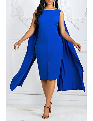 DRESS Women's Plus Size Basic Sheath Dress - Solid Colored - EK CHIC