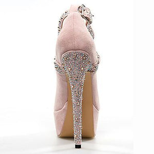 SHOES Women's Heels Stiletto Heel Round Toe Sparkling Glitter Suede - EK CHIC
