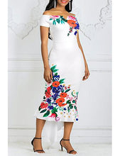Load image into Gallery viewer, DRESS Women's Asymmetrical Bodycon Dress - Floral Off Shoulder - EK CHIC