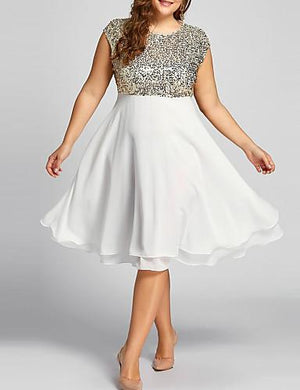 DRESS Women's Plus Size Homecoming Sheath Dress - Solid Colored Sequins Layered L - EK CHIC