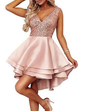 DRESS A-Line Plunging Neck Short Dress 2020 with Sequin - EK CHIC
