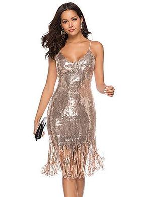 DRESS Women's Sequin Backless Tassel Dress - EK CHIC