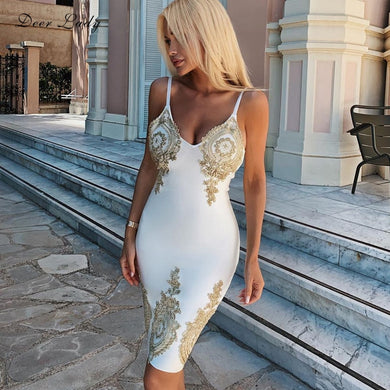 DRESS Embroidered Flower Bandage White Celebrity Party Dress - EK CHIC