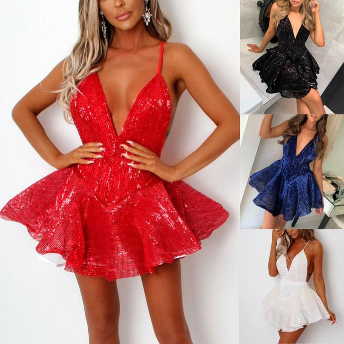 DRESSES Women Party Deep V Neck Sequin Skater Dress - EK CHIC