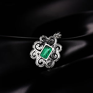 Colombian Emerald Pendant Necklace With Natural Diamond Set 14K White Gold - EK CHIC