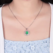Load image into Gallery viewer, JEWELRY Colombian Emerald Pendant Necklace With Natural Diamond Set 14K White Gold - EK CHIC