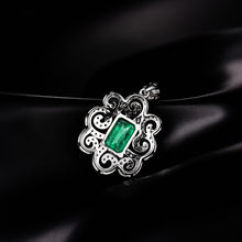 Load image into Gallery viewer, Colombian Emerald Pendant Necklace With Natural Diamond Set 14K White Gold - EK CHIC