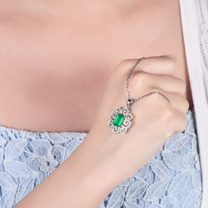 JEWELRY Colombian Emerald Pendant Necklace With Natural Diamond Set 14K White Gold - EK CHIC