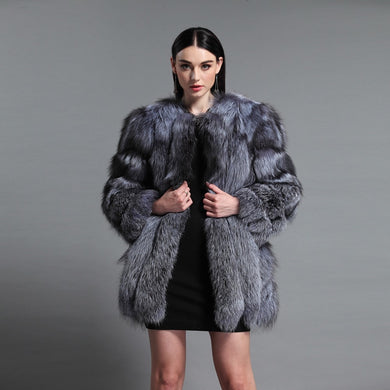 Luxury Fur Overcoat - Silver, Burgundy & Blue - EK CHIC