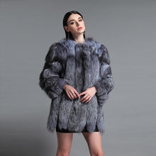 Load image into Gallery viewer, FUR COAT Luxury Fur Overcoat - Silver, Burgundy & Blue - EK CHIC