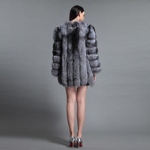 FUR COAT Luxury Fur Overcoat - Silver, Burgundy & Blue - EK CHIC