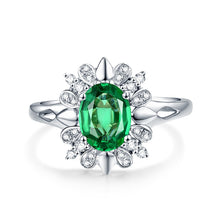 Load image into Gallery viewer, Flower Natural  Emerald Engagement Ring Real Solid 14K White Gold - EK CHIC