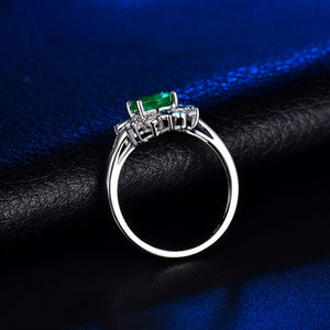 Flower Natural  Emerald Engagement Ring Real Solid 14K White Gold - EK CHIC