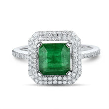 Load image into Gallery viewer, JEWELRY 100% Natural Green Emerald Real 18K White Gold Engagement Diamonds Wedding Ring - EK CHIC