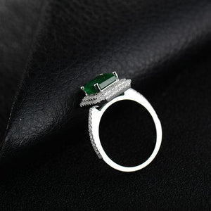 JEWELRY 100% Natural Green Emerald Real 18K White Gold Engagement Diamonds Wedding Ring - EK CHIC