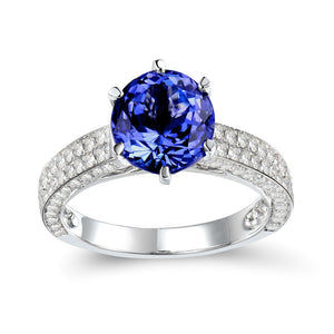 Solid 14K White Gold Natural Tanzanite- Diamond SI Clarity  Ring - EK CHIC