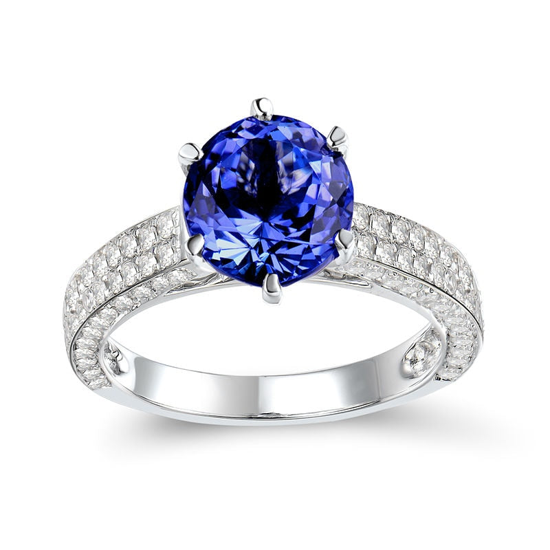 JEWELRY Solid 14K White Gold Natural Tanzanite- Diamond SI Clarity Ring - EK CHIC