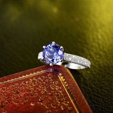 Load image into Gallery viewer, Solid 14K White Gold Natural Tanzanite- Diamond SI Clarity  Ring - EK CHIC
