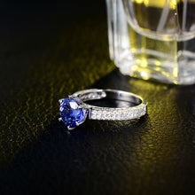 Load image into Gallery viewer, JEWELRY Solid 14K White Gold Natural Tanzanite- Diamond SI Clarity Ring - EK CHIC