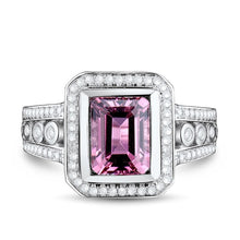 Load image into Gallery viewer, JEWELRY Vintage Jewelry Emerald Cut 6x8mm Natural Tourmaline In 14Kt White Gold Engagement Ring - EK CHIC