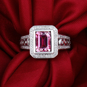 Vintage Jewelry Emerald Cut 6x8mm Natural Tourmaline In 14Kt White Gold Engagement Ring - EK CHIC