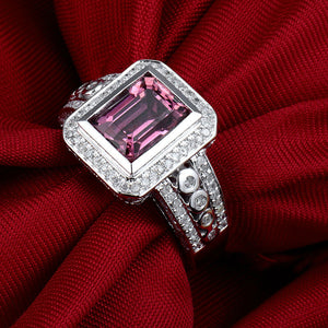 JEWELRY Vintage Jewelry Emerald Cut 6x8mm Natural Tourmaline In 14Kt White Gold Engagement Ring - EK CHIC
