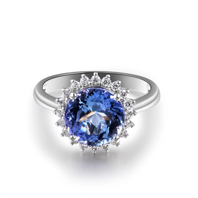 JEWELRY Diamond Tanzanite - Solid 18Kt White Gold - Engagement Ring - EK CHIC