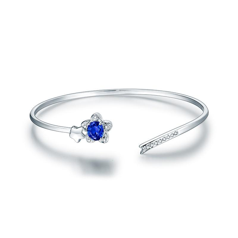 JEWELRY 14K White Gold Natural Sapphire Diamond Bangle - EK CHIC