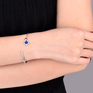 14K White Gold Natural Sapphire Diamond  Bangle - EK CHIC